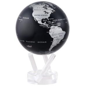bola del mundo negra y plateada