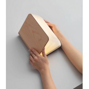 lámpara libro madera oscura